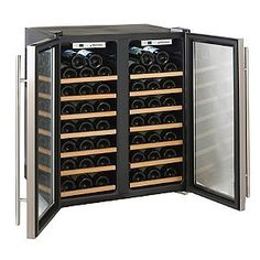 Wine Cellar Cooling Systems - Wine Enthusiast Silent 48 Bottle Double Door Dual Zone Wine Refrigerator Stainl * For more information, visit image link. Wine Refrigerator, Wine Fridge, Wine Storage, Locker Storage, Perfect Glass, Expensive Wine, Cheap Wine, In Vino Veritas, Italian Wine