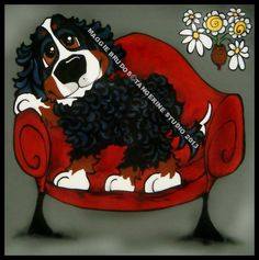 bernese mountain dog MINE couch lover dog 12x12 by tangerinestudio, $85.00