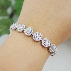 CT Round Cut Diamond White Gold Over Tennis Bracelet Bridal Bracelet, Bridal Jewelry, Diamond Bracelets, Diamond Jewelry, Bangles, Fashion Accessories, Fashion Jewelry, Bohemian Jewelry, Personalized Jewelry
