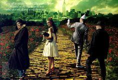 Annie Leibovitz Disney Collection - The Wizard of Oz with Keira Knightley (Dorothy), Brice Marden (Scarecrow), John Currin (tin man) and Jasper Johns (cowardly lion)