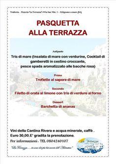 POLIGNANO A MARE (città di Domenico Modugno)  Ristorante la Terrazza Menu di Pasqua