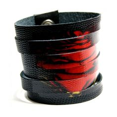 """Bransoletka z czarnej skóry """"Czerwona róża"""" #handmade #róża #bracelet #rose #bransoletka"""