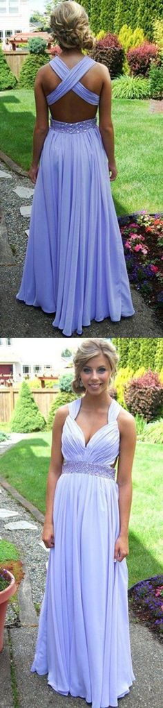 lavender backless prom dress 2017, long chiffon open back evening dress , ball gown , formal dress , pageant wedding party homecoming dress,purple bridesmaid dresses,beaded prom dress,beading evening gowns,long prom dresses,chiffon bridesmaid dresses,modest prom dress,open back prom dress