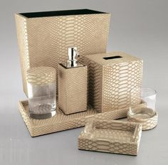 Luxury Hotel Bathroom Set: Gold Python Leather * Hotel Contract Orders Only