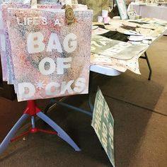 craft fair set up, bag of d*cks on display. all the spattered goodness. Raffle Tickets, Craft Fairs, Cubs, Paper Shopping Bag, Tote Bags, Charity, All In One, Display, Gift Ideas