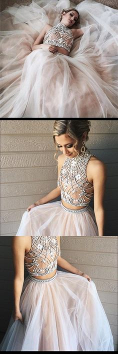 Tulle Two Piece High Neck Popular Custom Prom Dress, Party Dress, PD0320 #sposabridal #promdresses #party #partydress