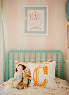 House of Turquoise: Sarah Crawford Sources You are So Loved Print - thewheatfield on Etsy Your Birthday Print - curryonthecouch on Etsy Watercolor Peony Wallpaper - Anthropologie Turquoise Beds - Land of Nod Girls' Bedding - DwellStudio Alphabet Pillows - PB Teen Girls' Curtains - Serena and Lily Girls' Striped Wallpaper - Thibaut Master Bedroom Bedding - Pottery Barn Monogrammed Pillow Cases - The Zhush Turquoise Oval Frames - Obrien Schridde