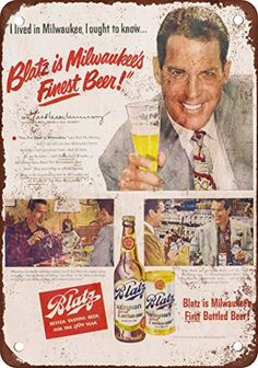 1950 Fred MacMurray for Blatz Vintage Look Reproduction Metal Sign ** Read more reviews of the product by visiting the link on the image.