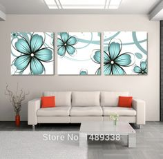 Framed High-quality Modern Printed On Canvas 3 piece blue flowers oil painting wall hanging picture wall flower Art Deco Wall Art, Wall Art Sets, Canvas Wall Art, Art Decor, Canvas Prints, Home Decor, Modern Wall Paint, Oil Painting Flowers, Hanging Pictures