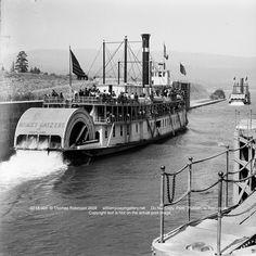 Sternwheeler Bailey Getzert at Cascade Locks Circa 1905 Columbia River Gorge Oregon USA