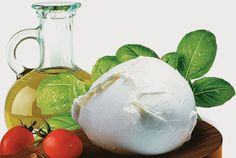 Buffalo Mozzarella is a mozzarella made from the milk of the domestic water buffalo.  Mozzarella di Bufala Campana.