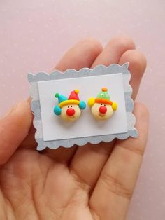 Funny clown stud earrings created from polymer clay without using molds. The lenght of each earring is 1.2 cm. ❀ Because i make everything by hand, the item you receive may differ slightly than shown on the pictures. ❀ Price is for one pair of earrings. ❀ I ship the orders very quickly, in