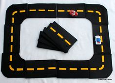 gift idea: sewn felt build-your-own racetrack with drawstring bag  {Etsy}