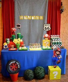 # Party Mario and Car! Mario Kart, Mario Bros Y Luigi, Mario Bros., Super Mario Birthday, Mario Birthday Party, Super Mario Party, Wii Party, Sonic Party, Princess Peach Party