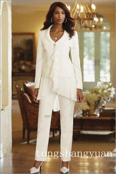 2015 Custom Made Ivory Chiffon Mother Of the Bride Jacket Pants Suits Long Sleeve Wedding Party Suit For Mother Dress Chiffon High Quality Mother Of The Bride Jackets, Mother Of Bride Outfits, Mothers Dresses, Mother Bride, Bride Dresses, Ivory Dresses, Bridesmaid Dresses, Formal Dresses, Wedding Dresses