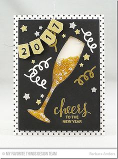 Layered Champagne Glass Die-namics, Stitched Banner Numbers Die-namics, Blueprints 25 Die-namics, Hand Lettered Holiday Stamp Set, Party Balloons Stamp Set - Barbara Anders  #mftstamps