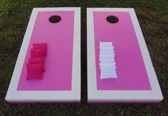 Pink and White cornhole set for women! by Cornhole-Express.com