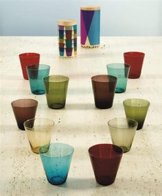 Finland designer Kaj Franck, 1950s-1960s, swatches, glassware, kitchen, multiply, packaging