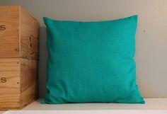 turquoise linen pillow cover FightingforJoy, $26.00 #Etsy #handmade