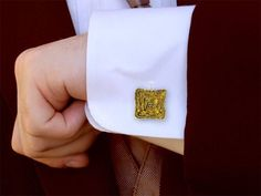 Mens Cufflinks - The Melting Walls™ Collection by Damaskos. 18k gold. The cufflinks are APPROX ¾ inch square. The cuff links add a personal and masculine touch to a work outfit. See more at www.athenas-treasures.com/