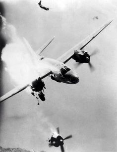 "https://flic.kr/p/eTE83f | Damaged bomber B-26 ""Marauder"" loses engine 