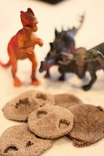 "Dinosaur fossil cookies - not edible but would be fun to make shortbread or sugar cookies that the kids can ""stamp"" with dino prints."