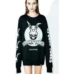 Killstar Donnie Sweatshirt ($72) ❤ liked on Polyvore featuring tops, hoodies, sweatshirts, bunny top, relaxed fit tops, long sleeve sweatshirt, long sleeve pullover and pullover sweatshirt