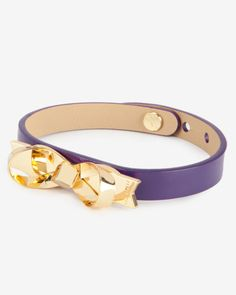 Leather loop bow bracelet - Grape | Gifts for Her | Ted Baker