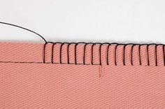 Use a machine stitch as a perfect guide for hand sewing, then pull out the machine stitched threads ~