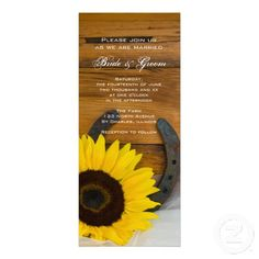 Sunflower and Horseshoe Country Wedding Invite - Sunflowers and horseshoes will both have a place in my wedding, so I'm gonna show this to Cricket and Travis and see if they can recreate it with their spin. :)