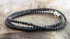 """mens obsidian wrap bracelet w/ 3mm round obsidian beads & sterling silver magnetic clasp, November stone, 7.5"""" wrist by The Spiral River"""