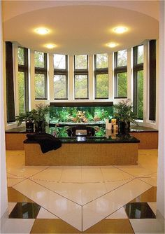 Master Whirlpool with full accessibility. Custom sized fish tanks with motorized solar shades at the windows. Custom floor patterns using Silestone tile with Brass and Stainless divider strips.