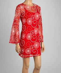 Look what I found on #zulily! Red & White Floral Shift Dress by Design 26 #zulilyfinds