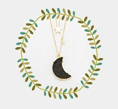 Druzy Black Moon & Star Pendant Necklace, Double Layered Boho Necklace