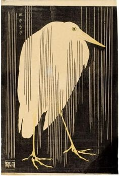 Kawanabe Kyosai, White Heron in the Rain, colour woodblock print, Japan, 1880 Art And Illustration, Botanical Illustration, Japanese Woodcut, Art Asiatique, Art Japonais, Ouvrages D'art, Japanese Painting, Chinese Painting, Chinese Art
