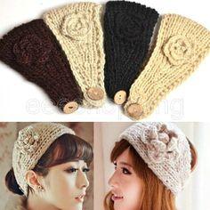HOT Women Crochet Headband Knitted hairband Flower Winter Ear Warmer Headwrap