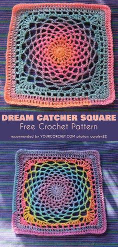 Crochet Squares 94522 Dream Catcher Square for Blanket Free Crochet Pattern Granny Square Pattern Free, Sunburst Granny Square, Granny Square Häkelanleitung, Granny Square Crochet Pattern, Crochet Blocks, Crochet Squares, Crochet Blanket Patterns, Free Pattern, Dream Catcher Crochet Pattern