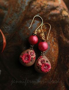 Jennifer Morris, polymer clay floral earrings made using the appliqué technique (sometimes known as the embroidery technique).