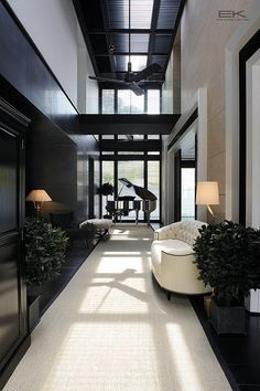 Rosamaria G Frangini | Architecture | Apartments, Lofts & Penthouses | White runner right down centre of dark floor boards!!