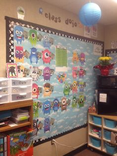 Little dojo monsters holding up signs that keep track of their points. Reward poster in the center. Great visual reminder to the students. 4th Grade Classroom, New Classroom, Classroom Community, Preschool Classroom, Classroom Activities, Classroom Decor, Kindergarten, Teaching Class, Whole Brain Teaching