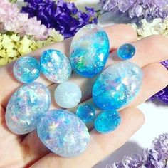 ✨ My favourite cabochons that I made in these months - (made with products) Cool Rocks, Beautiful Rocks, Minerals And Gemstones, Rocks And Minerals, Crystal Magic, Crystal Healing, Crystal Ball, Turquoise Rose, Crystal Aesthetic