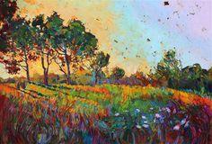 Crystal Blooms - original oil painting on 24 karat gold, by modern impressionism painter Erin Hanson