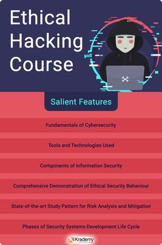 Some of the salient features and modules included in Ethical Hacking Course by Krademy. Technology Hacks, Computer Technology, Computer Programming, Computer Science, Technology Apple, Programming Humor, Learn Computer Coding, Life Hacks Computer, Computer Basics