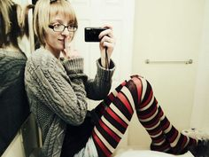 Red black and white striped wool pantyhose with warm grey coat