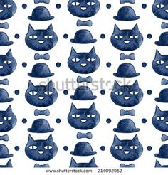 Black cat head and the hat watercolor seamless pattern - stock photo