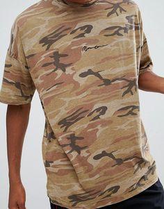 d71ddc239c418 Mennace Camo T-Shirt With Dropped Shoulder In Camo Asos