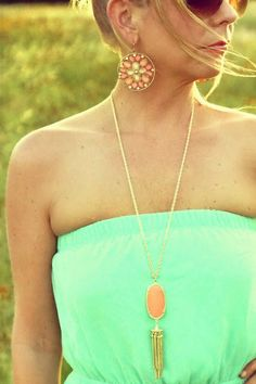 Kendra Scott salmon tassel necklace.