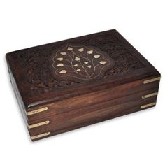 Girls Gift Jewelry Boxes Brass Inlay Handmade Wooden Case