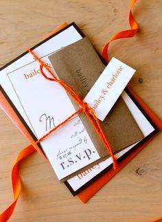 Love Cycle - Eco - Friendly Fall Wedding Invitations, Burnt Orange, Brown - Purchase to Start the Ordering Process. $100.00, via Etsy.