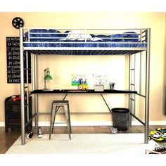 Shop for DHP Twin Silver Metal Loft Bed with Desk. Get free delivery at…